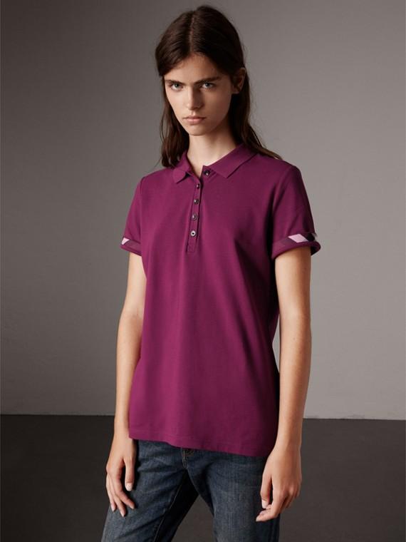 Check Trim Stretch Cotton Piqué Polo Shirt in Magenta Pink