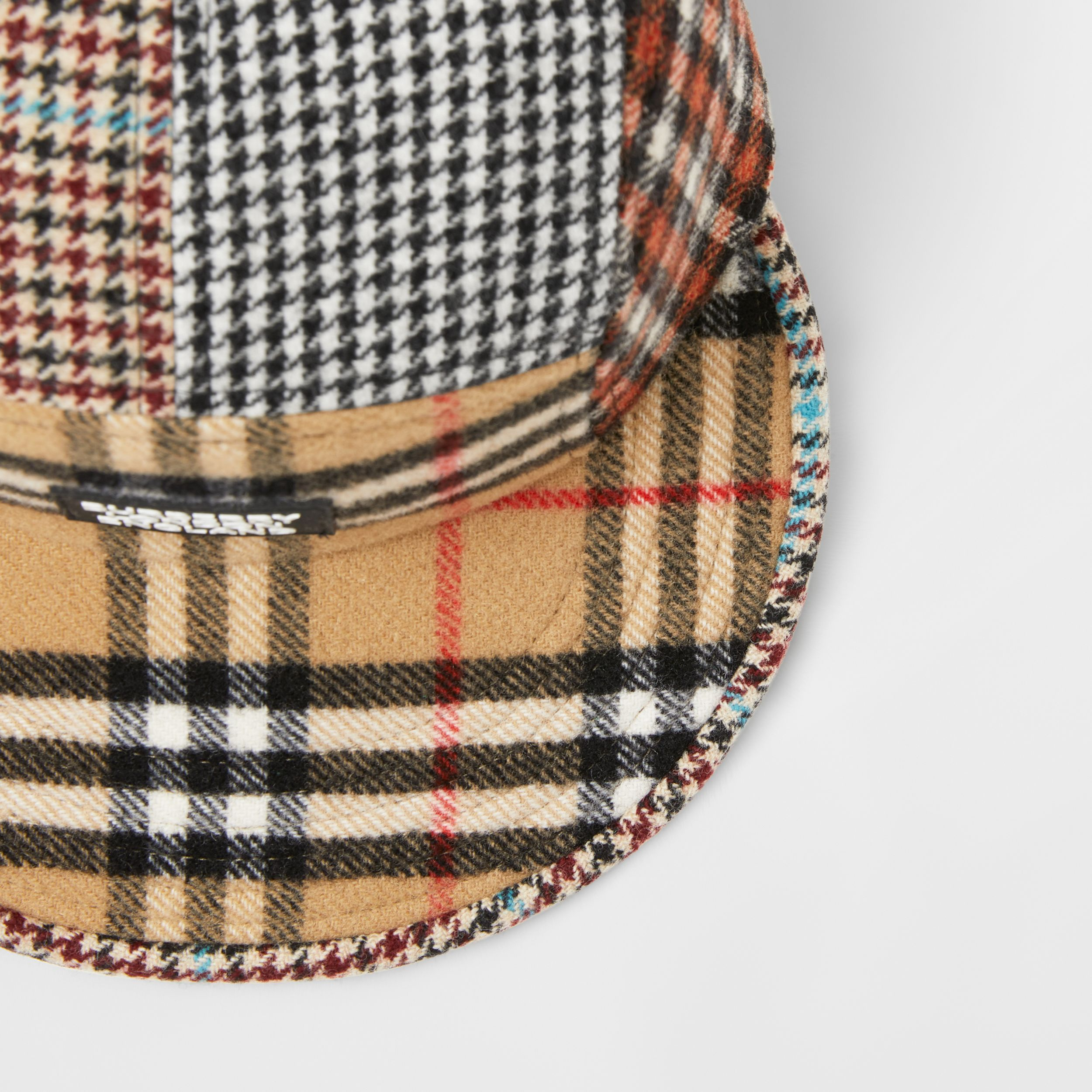 Patchwork Check Technical Wool Cap in Archive Beige - Children | Burberry - 2