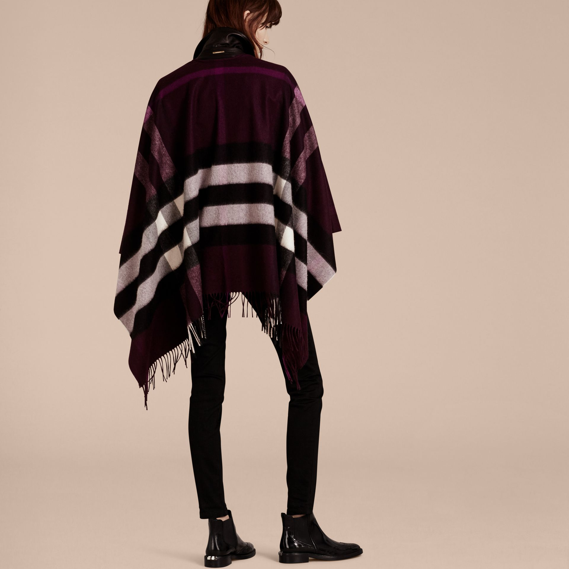 Check Cashmere and Wool Poncho Aubergine - gallery image 6