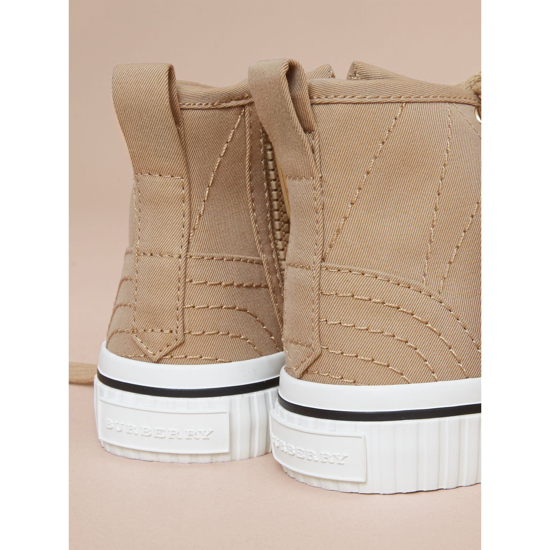 Topstitched Cotton Gabardine High-top Trainers | Burberry - gallery image 3
