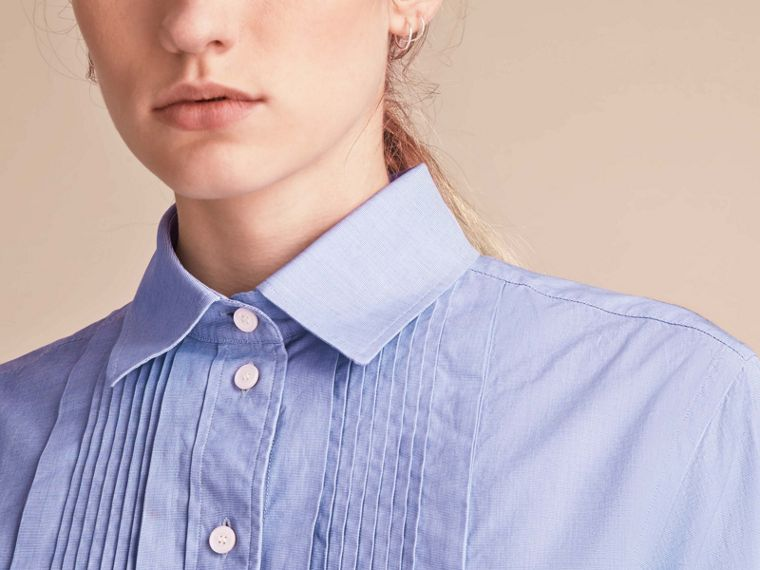Abito chemisier a tunica in cotone chambray - Donna | Burberry - cell image 4