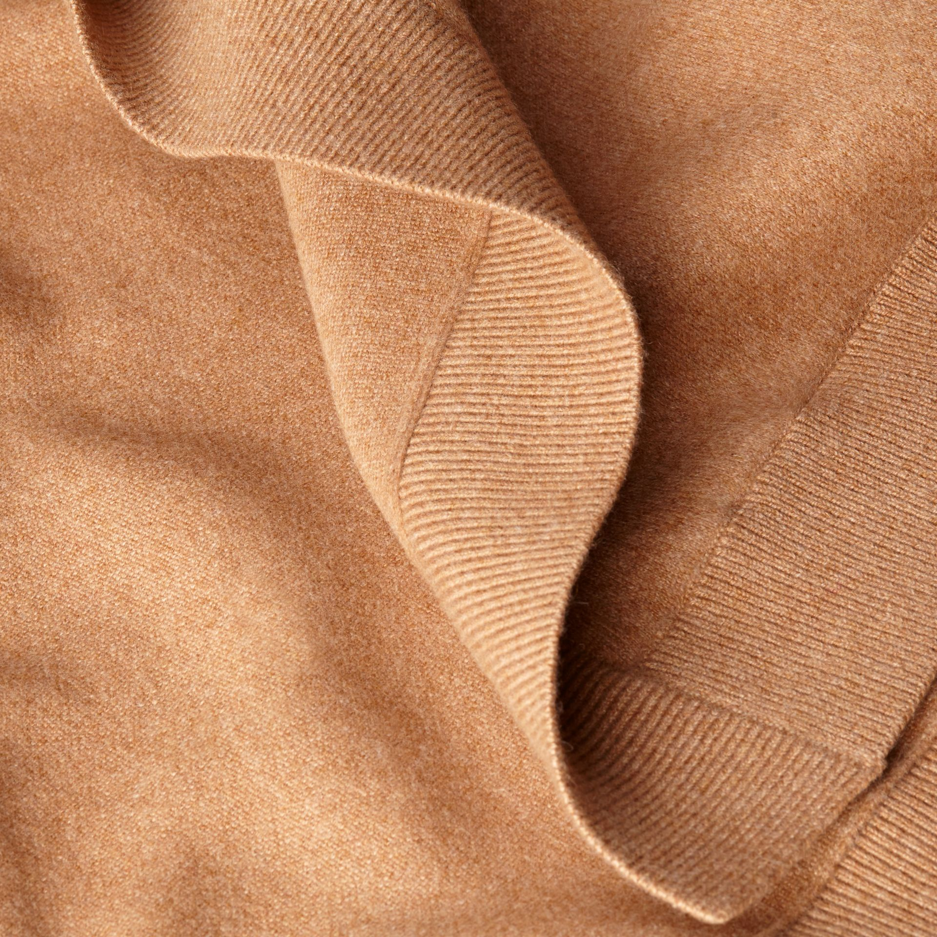 Camel Wool Cashmere Blend Hooded Poncho Camel - gallery image 2