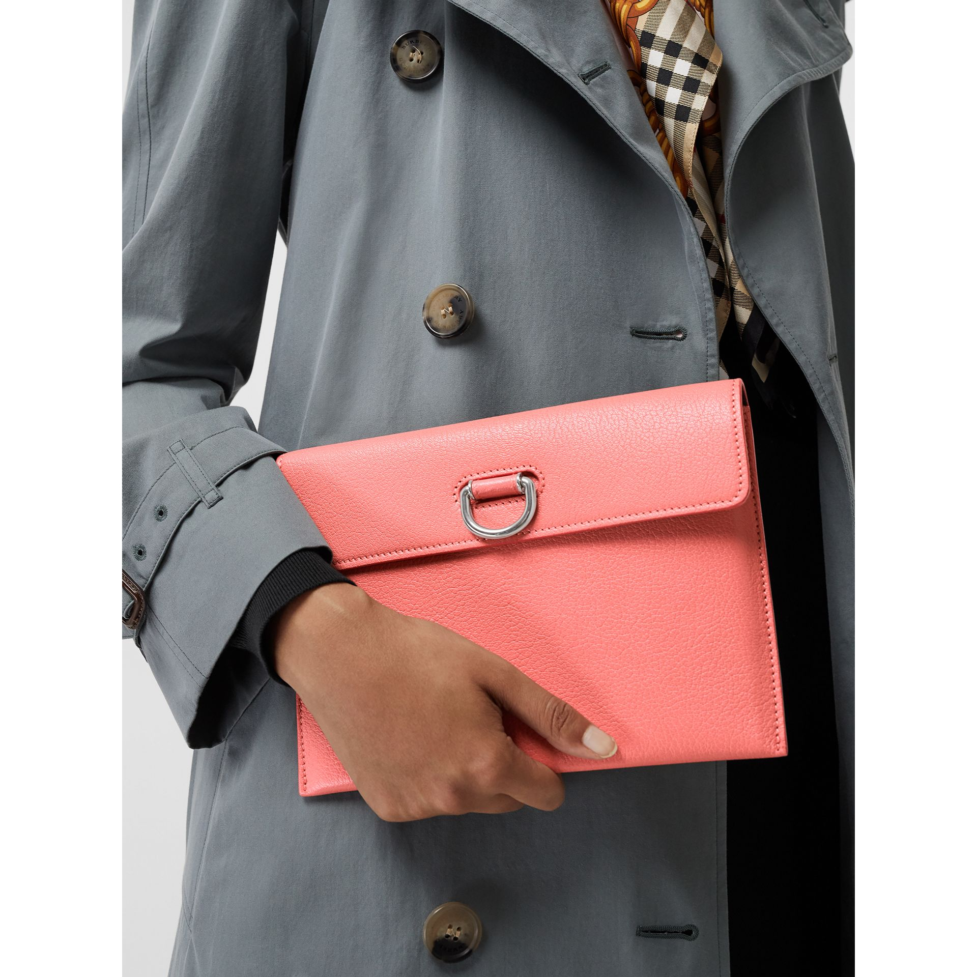 D-ring Leather Pouch with Zip Coin Case in Bright Coral Pink - Women | Burberry - gallery image 3