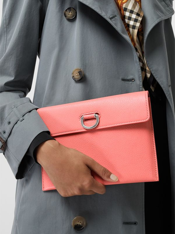 D-ring Leather Pouch with Zip Coin Case in Bright Coral Pink - Women | Burberry - cell image 3