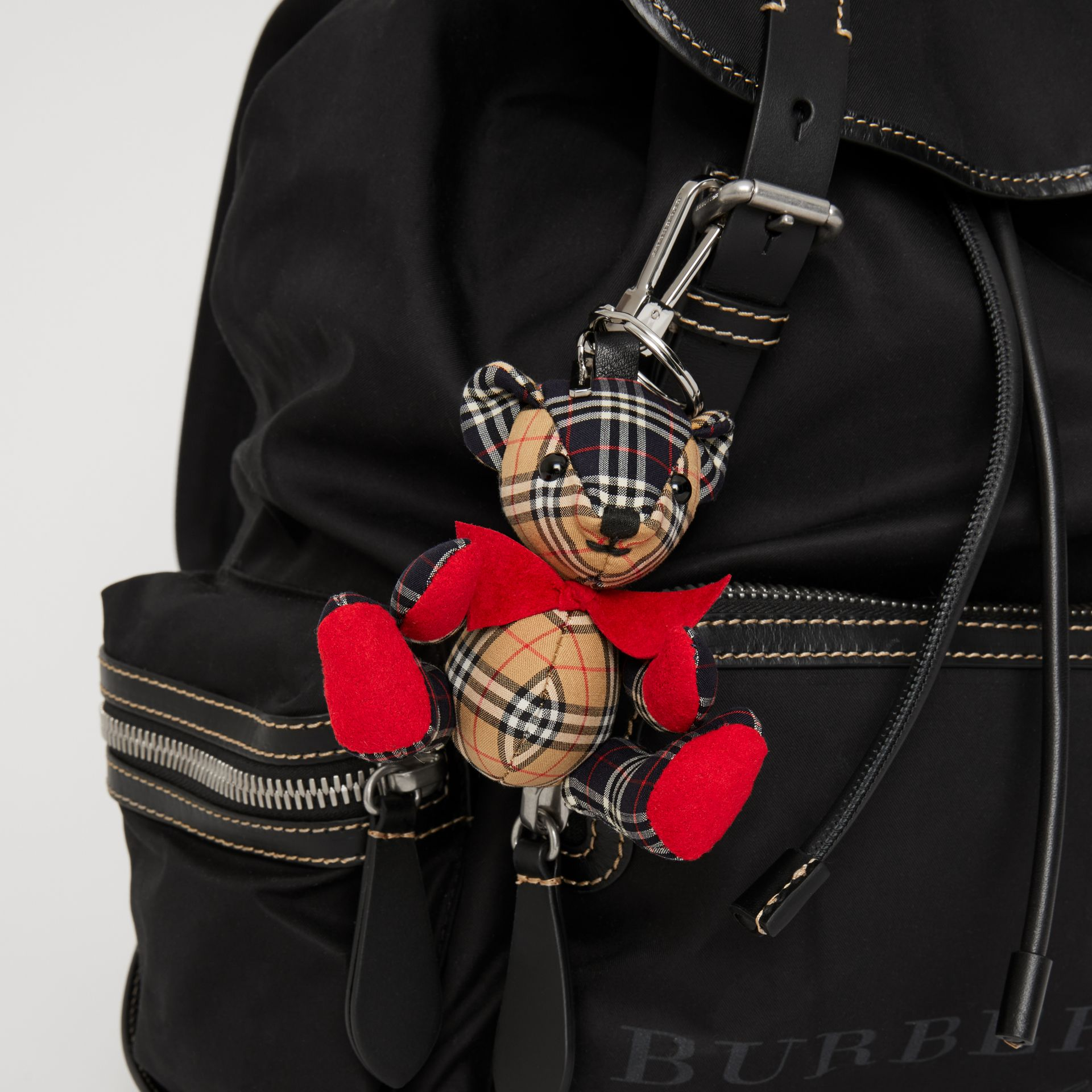 Thomas Bear Charm in Small Scale Check Cotton in Antique Yellow | Burberry - gallery image 4