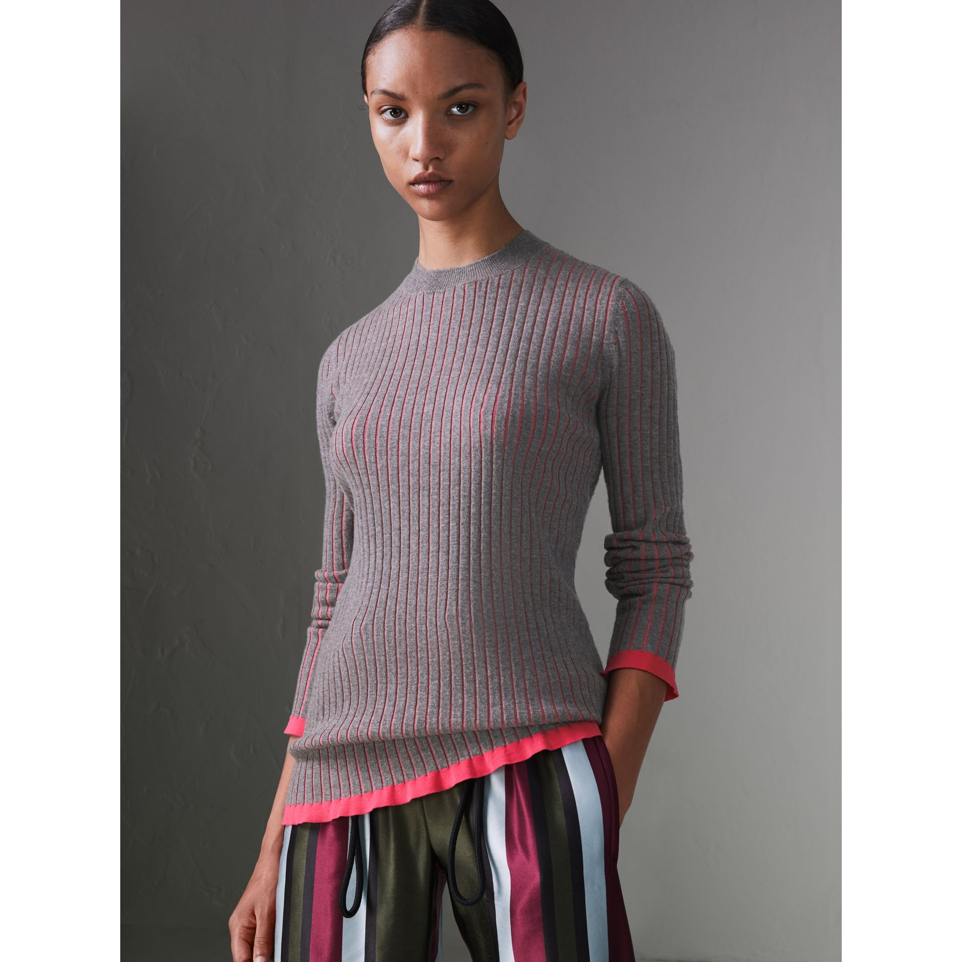 Rib Knit Cashmere Silk Sweater in Grey Melange - Women | Burberry - gallery image 4