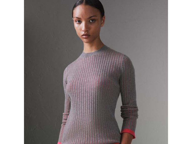 Rib Knit Cashmere Silk Sweater in Grey Melange - Women | Burberry - cell image 4