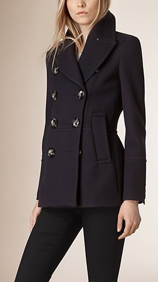 Pleat Detail Double-Breasted Wool Jacket