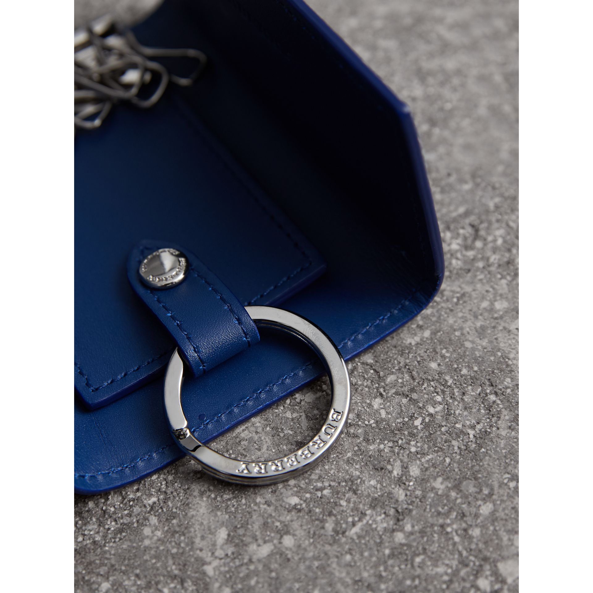 London Leather Key Holder in Deep Blue - Men | Burberry Australia - gallery image 1