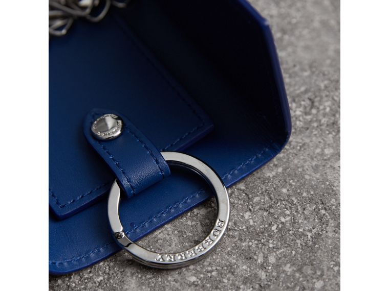 London Leather Key Holder in Deep Blue - Men | Burberry United Kingdom - cell image 1
