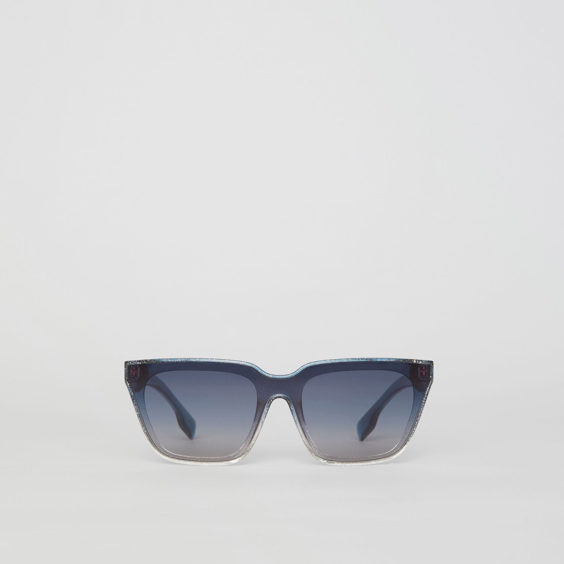 Glitter Detail Square Frame Shield Sunglasses in Blue - Women | Burberry - gallery image 0
