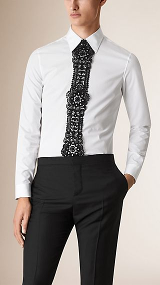 Lace Placket Cotton Poplin Shirt