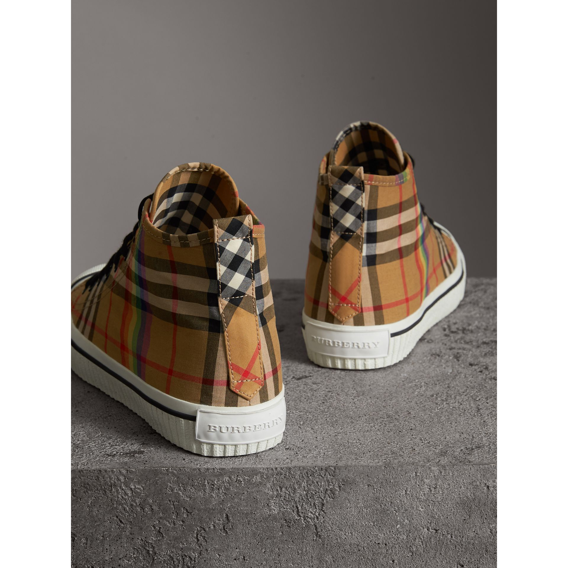Rainbow Vintage Check High-top Sneakers in Antique Yellow | Burberry - gallery image 3