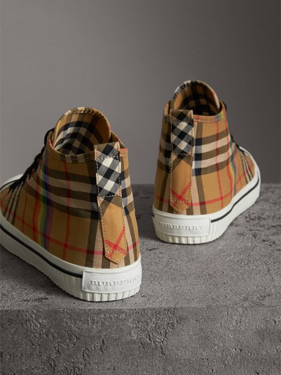 Rainbow Vintage Check High-top Sneakers in Antique Yellow | Burberry - cell image 3