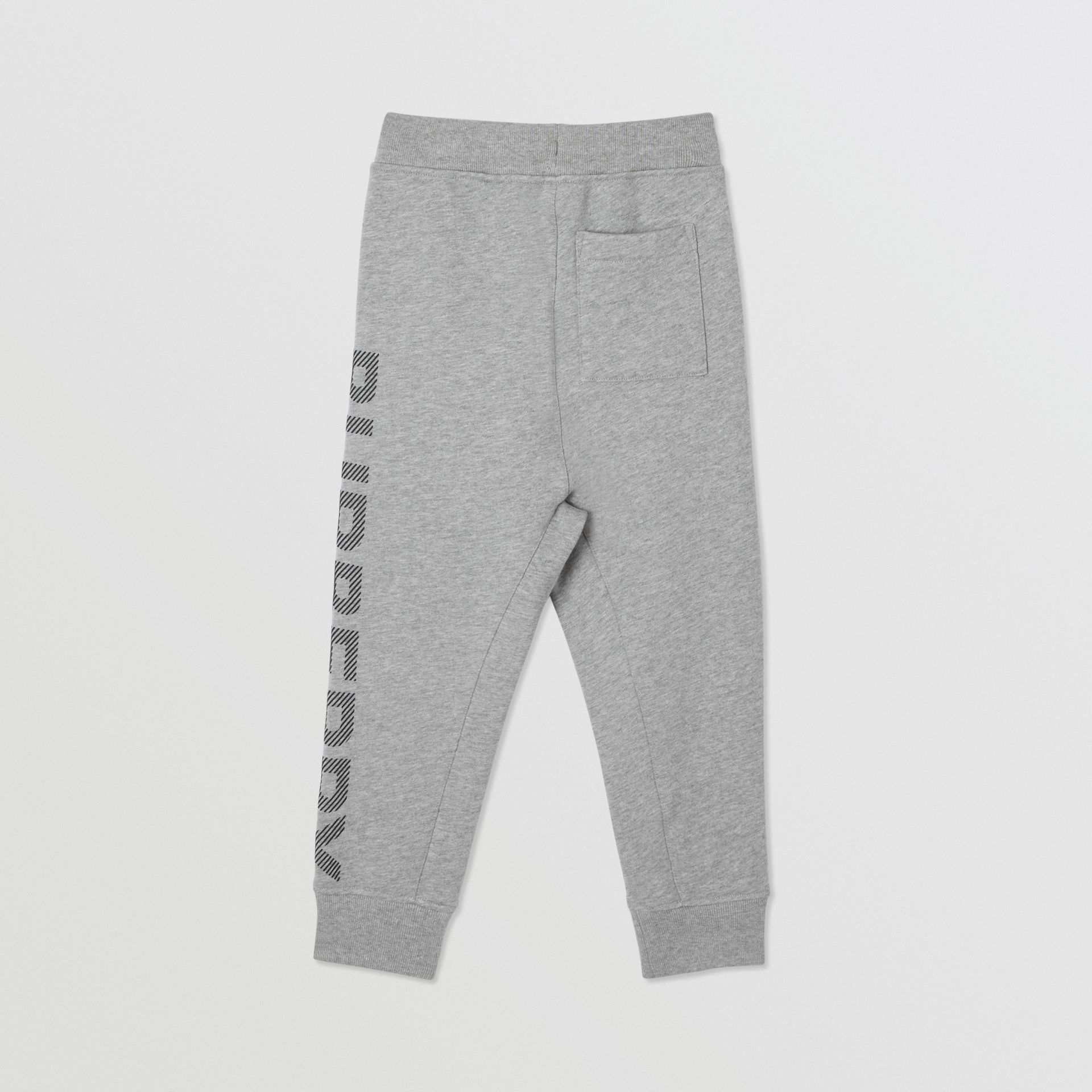 Logo Print Cotton Drawcord Trackpants in Grey Melange | Burberry United Kingdom - gallery image 3