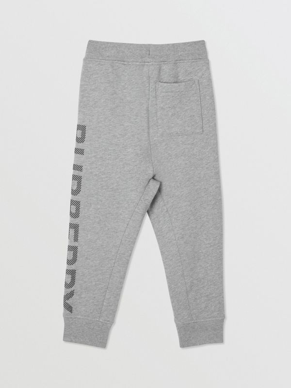 Logo Print Cotton Drawcord Trackpants in Grey Melange | Burberry United Kingdom - cell image 3