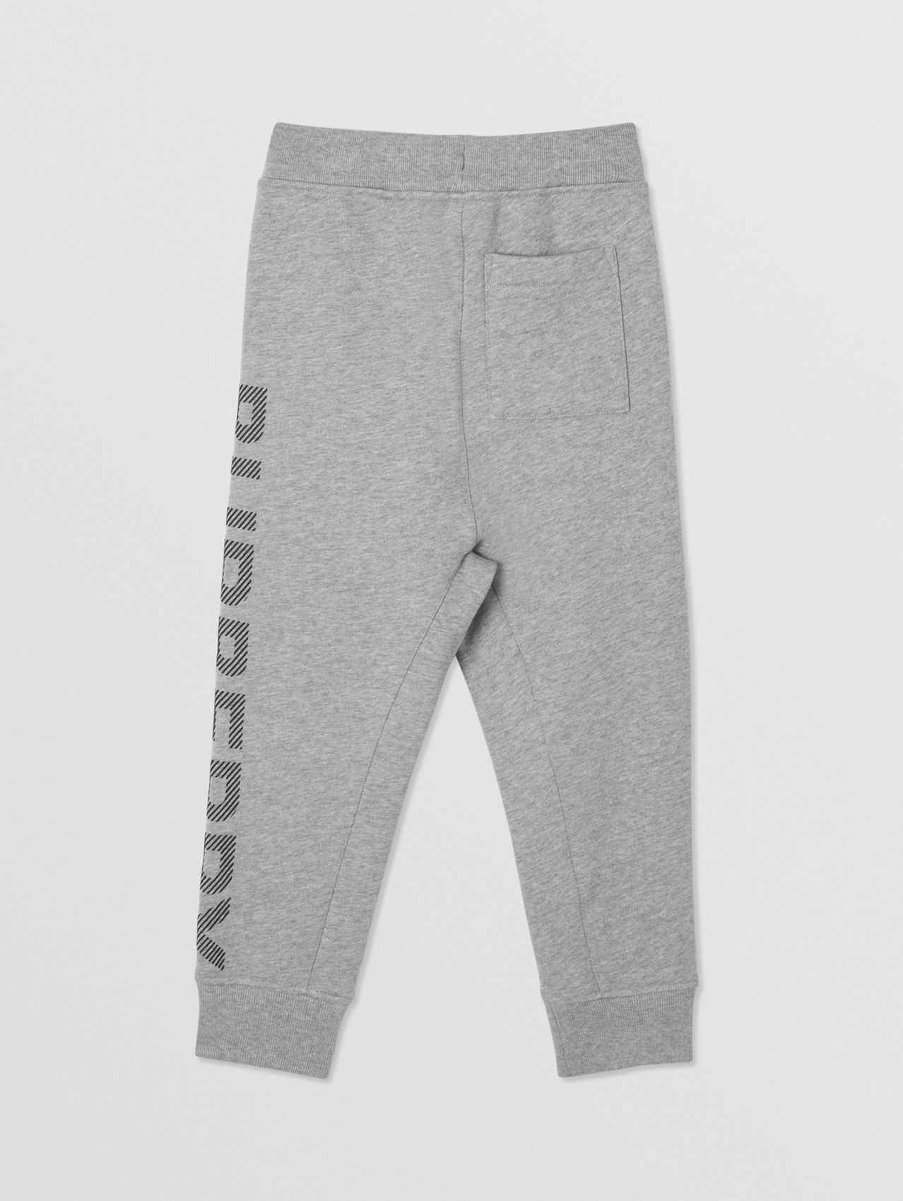 Logo Print Cotton Drawcord Jogging Pants in Grey Melange/black