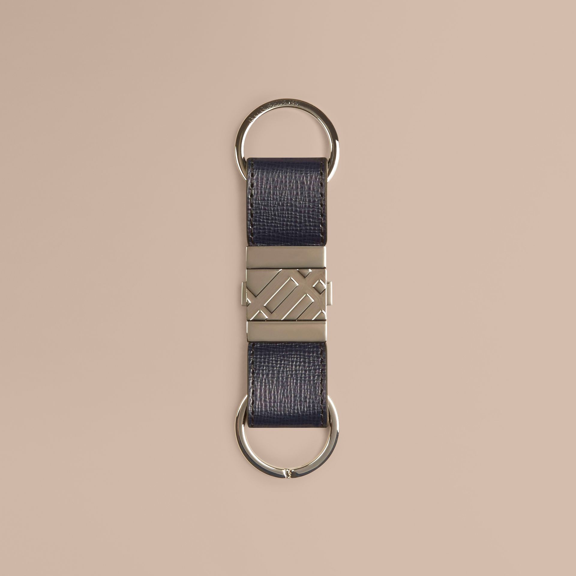 Dark navy London Leather Valet Key Ring Dark Navy - gallery image 1