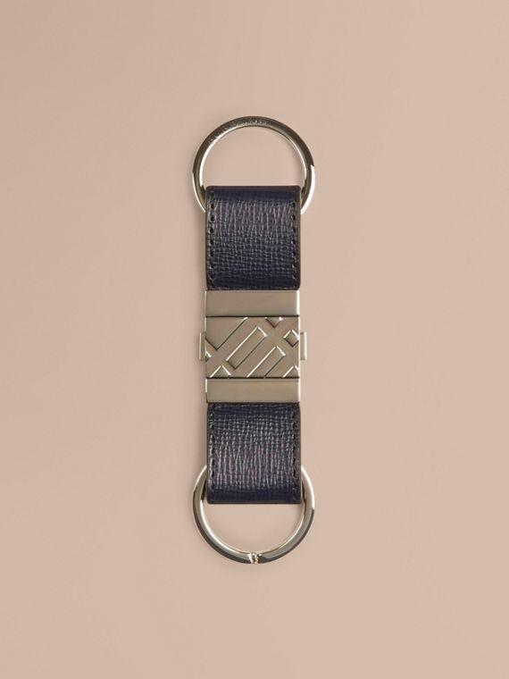 London Leather Valet Key Ring Dark Navy