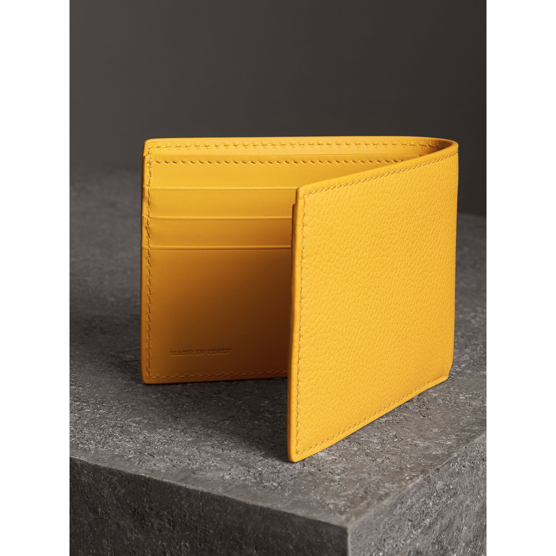 Grainy Leather Bifold Wallet in Bright Ochre Yellow - Men | Burberry Australia - gallery image 2