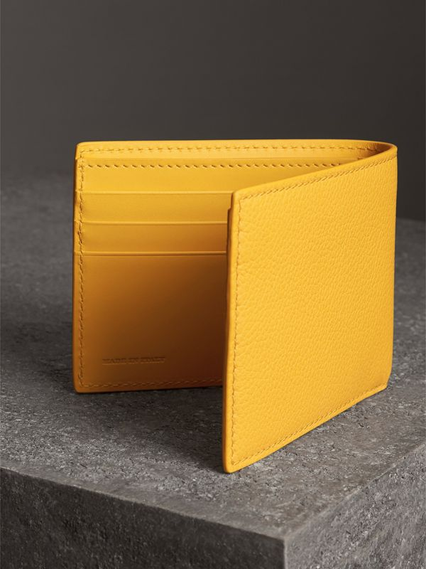 Grainy Leather Bifold Wallet in Bright Ochre Yellow - Men | Burberry Australia - cell image 2