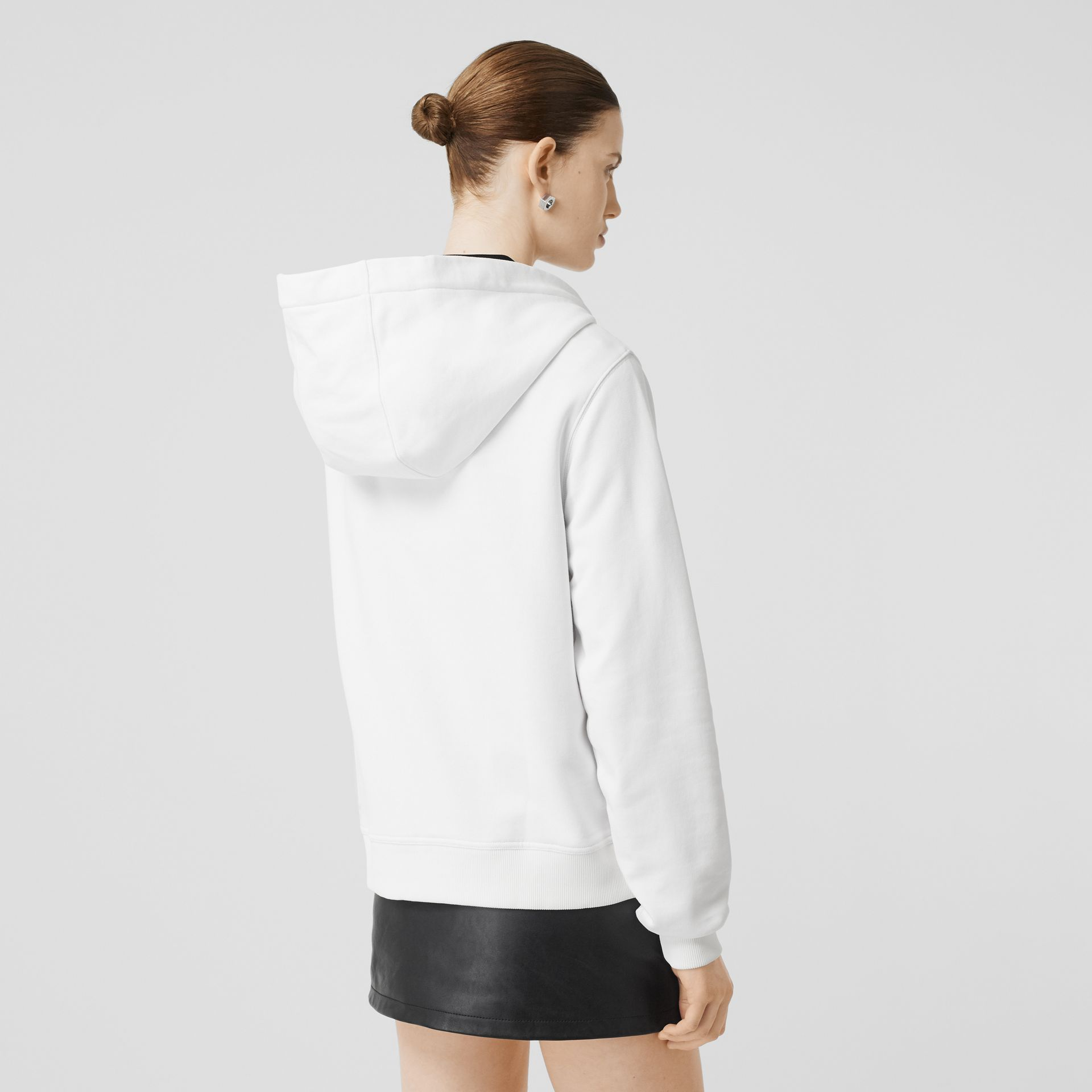 Monogram Motif Cotton Oversized Hooded Top in White - Women | Burberry - gallery image 2