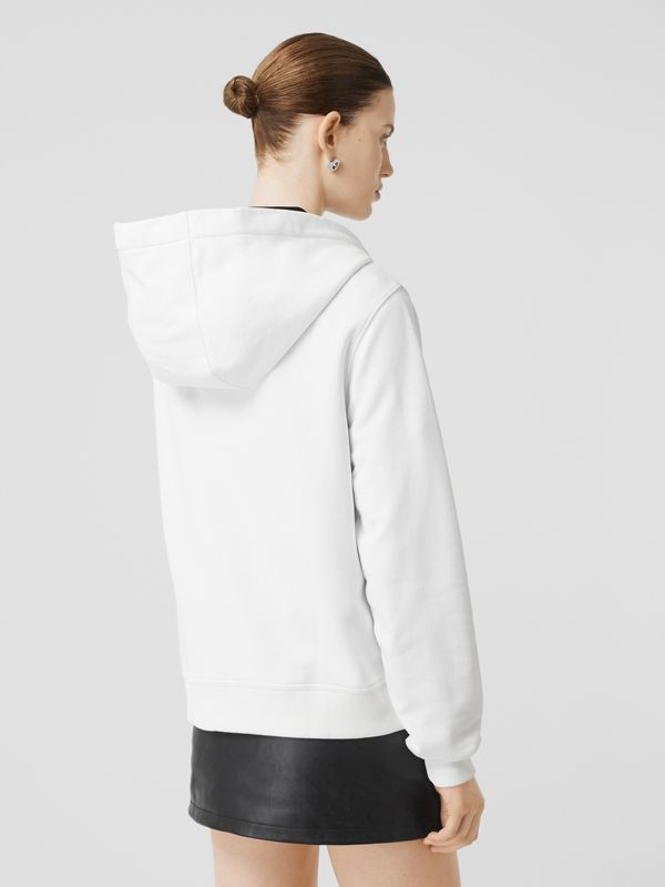 Monogram Motif Cotton Oversized Hooded Top in White - Women | Burberry - cell image 2