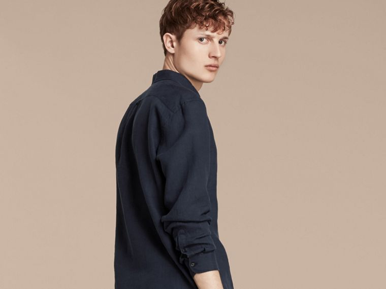 Navy Button-down Collar Linen Shirt Navy - cell image 1