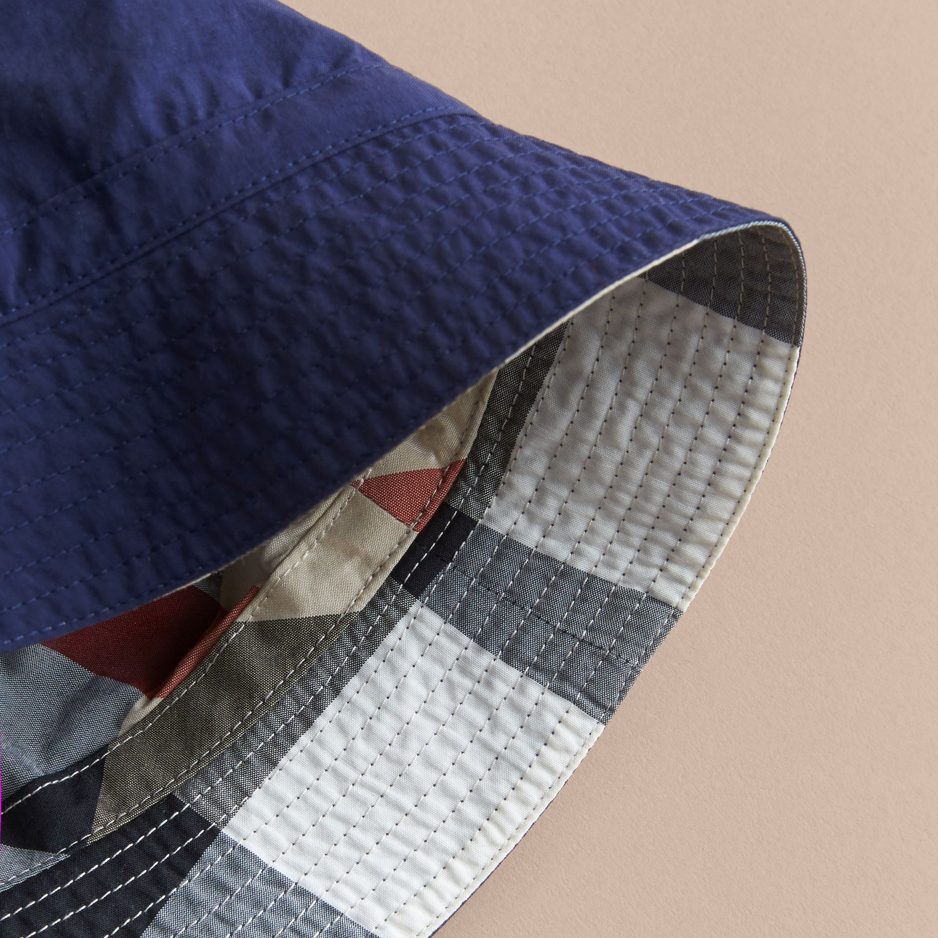 Check Detail Bucket Hat in Indigo | Burberry United States - gallery image 2