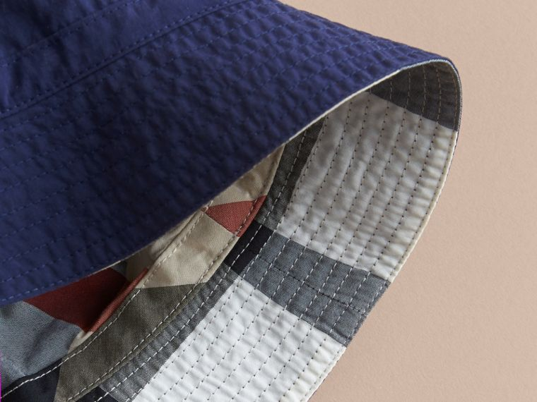 Check Detail Bucket Hat in Indigo | Burberry United States - cell image 2