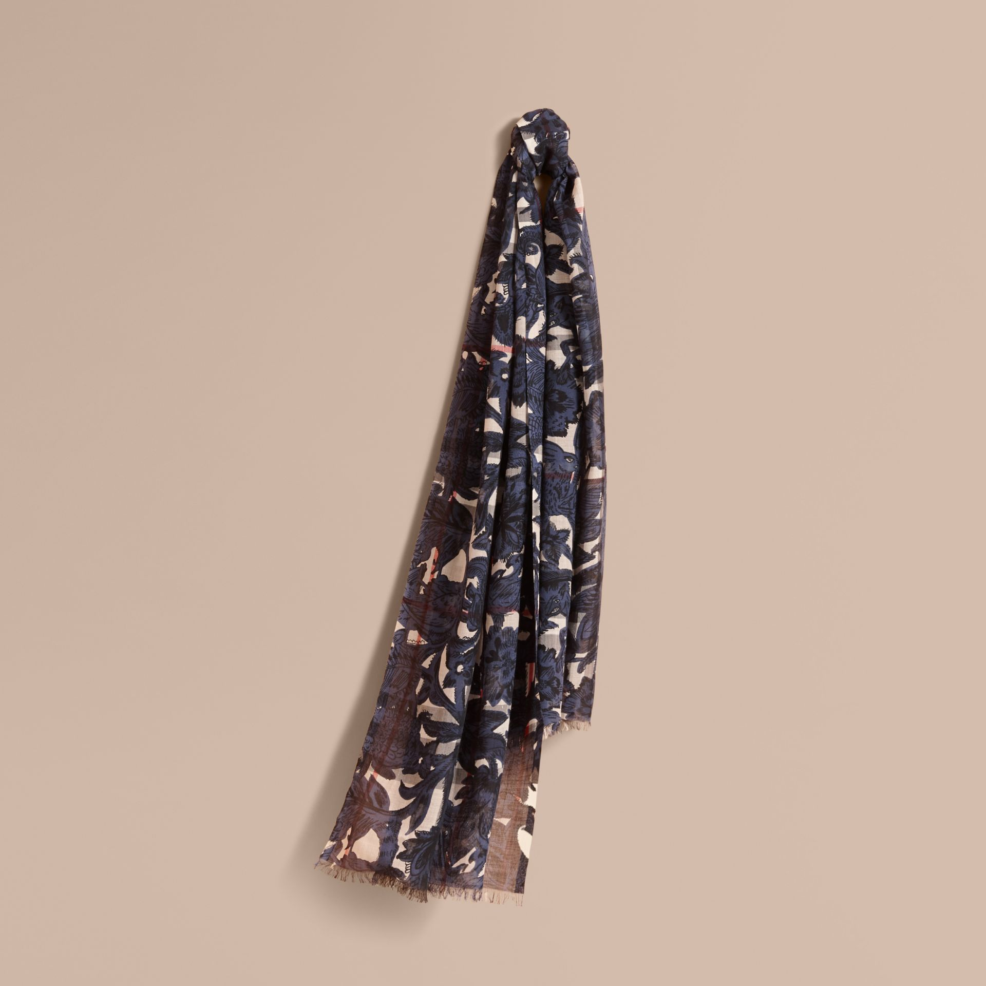 Beasts Print and Check Lightweight Wool Silk Scarf in Storm Blue - Women | Burberry Hong Kong - gallery image 1
