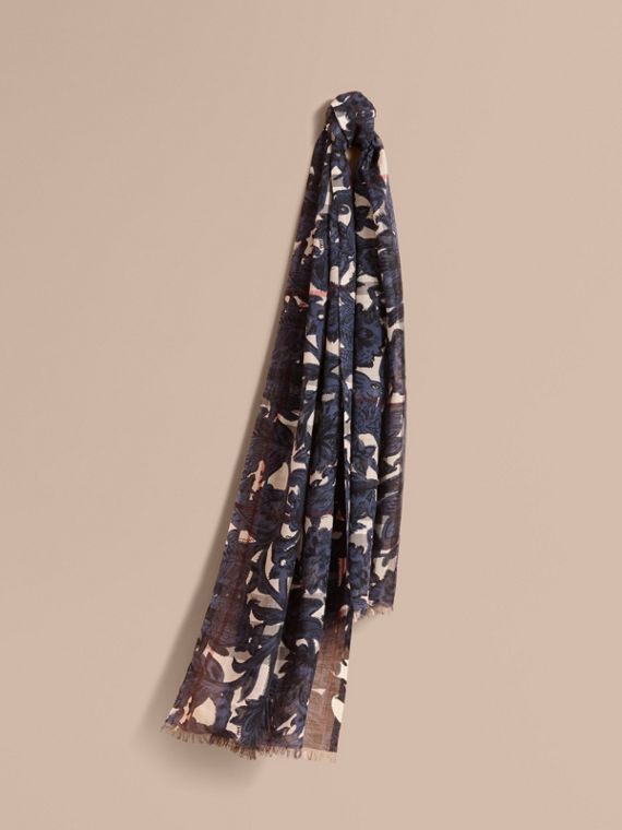 Beasts Print and Check Lightweight Wool Silk Scarf in Storm Blue