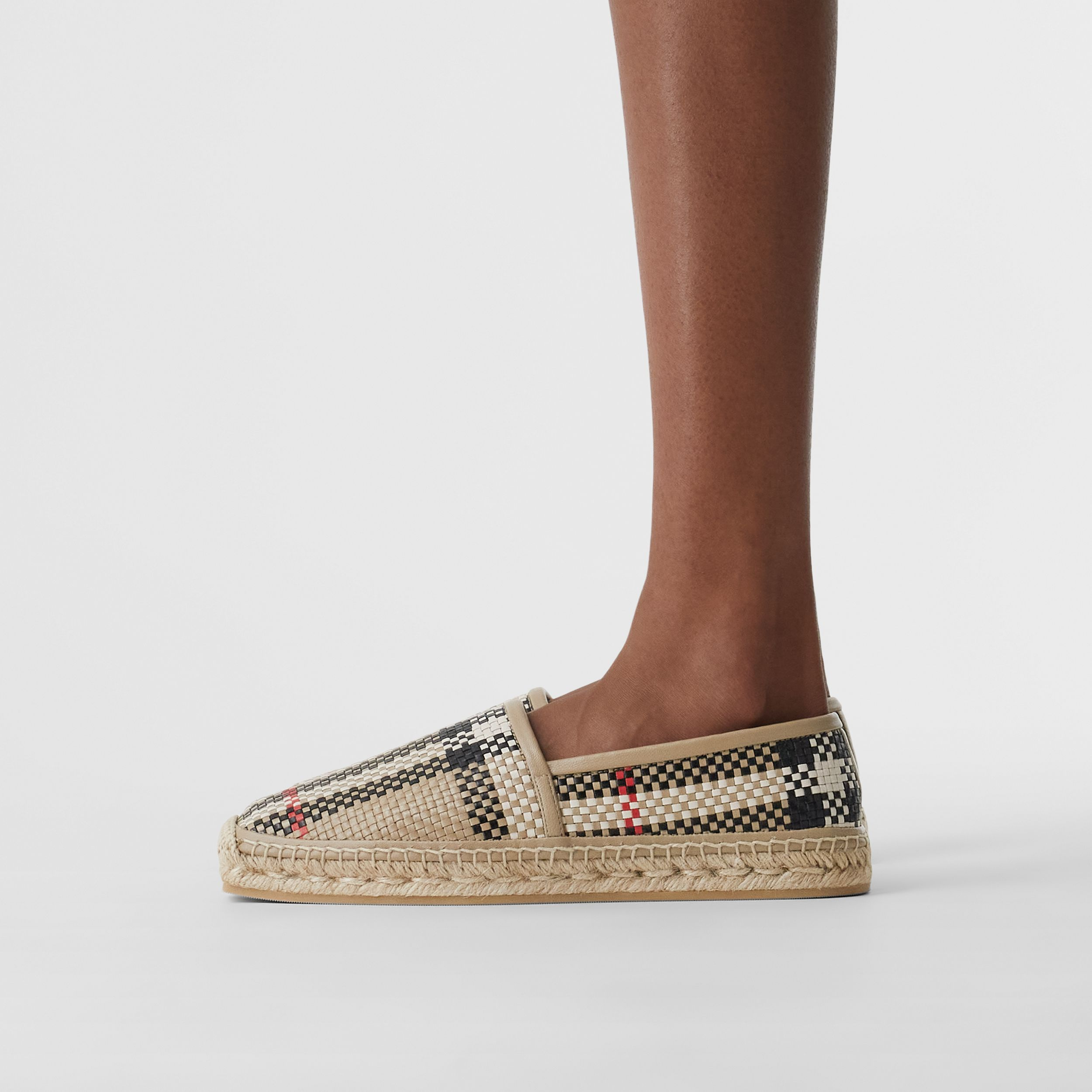 Latticed Leather Espadrilles in Archive Beige - Women | Burberry Hong Kong S.A.R. - 3
