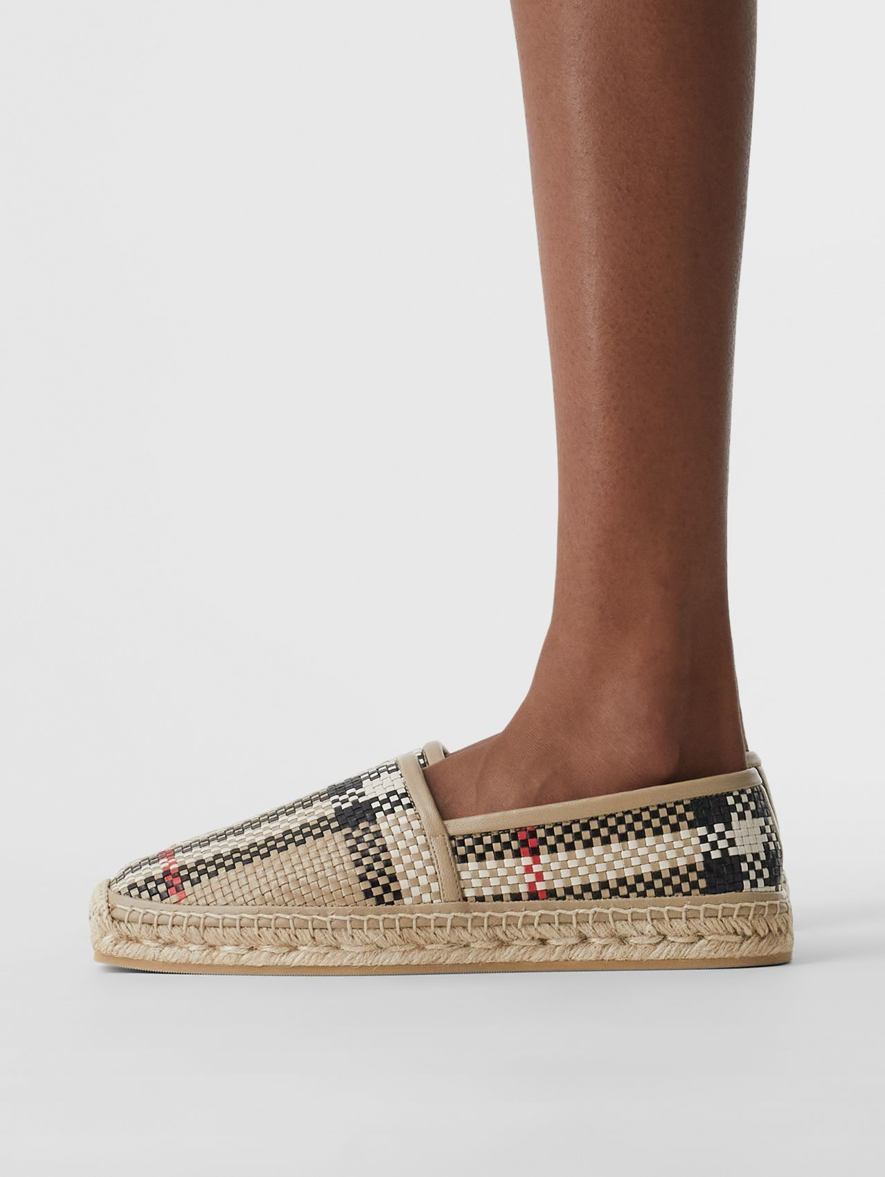 Latticed Leather Espadrilles in Archive Beige