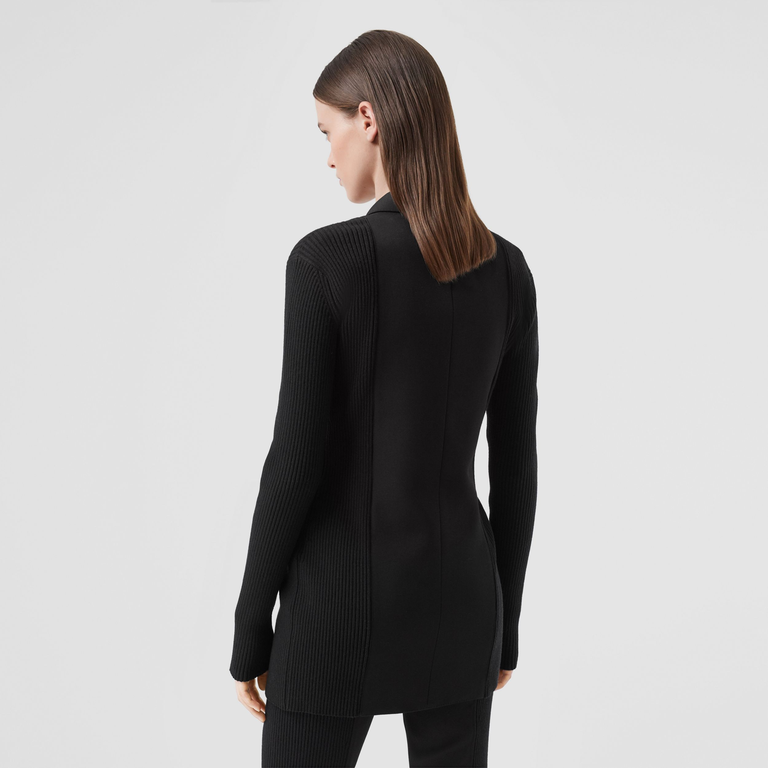 Rib Kit Panel Grain De Poudre Wool Tailored Jacket in Black - Women | Burberry - 3