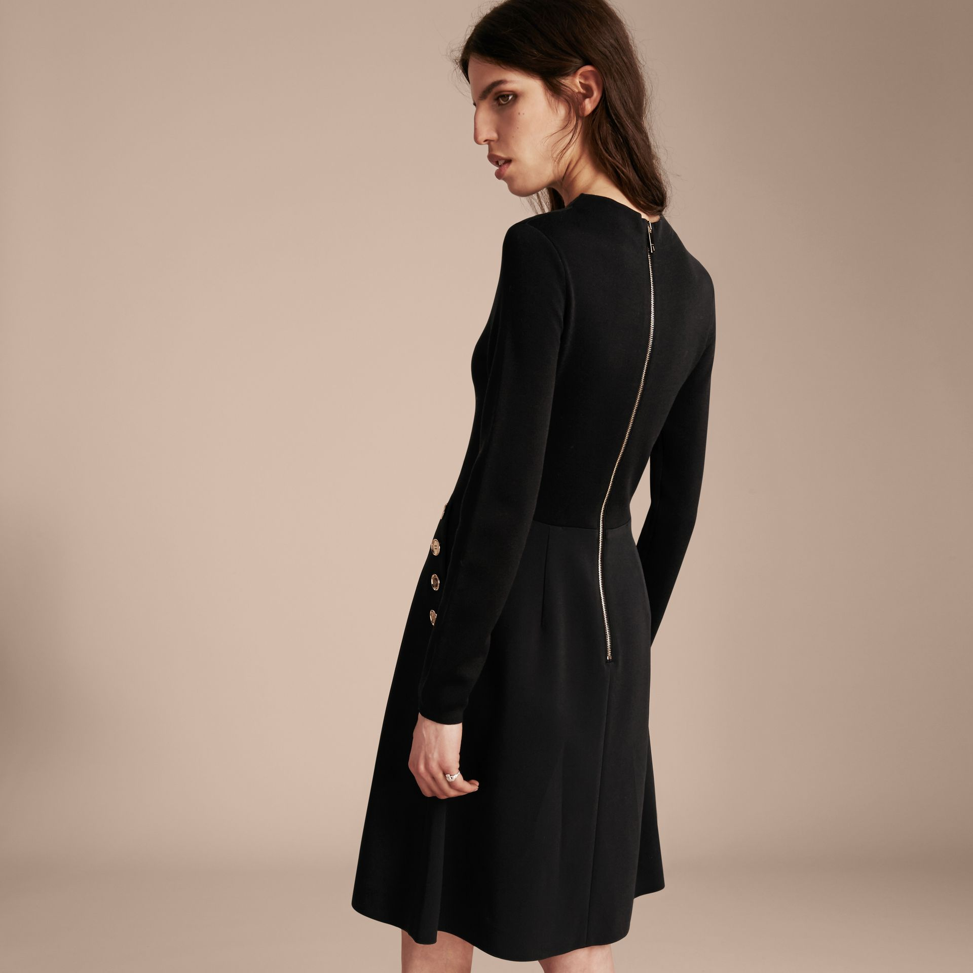 Black Long-sleeved Silk Wool Military Dress - gallery image 3