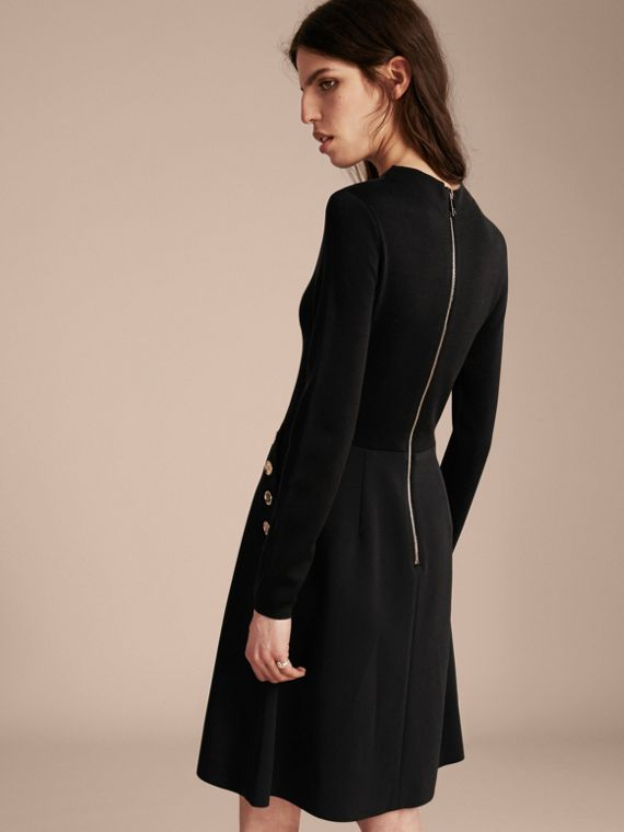 Black Long-sleeved Silk Wool Military Dress - cell image 2