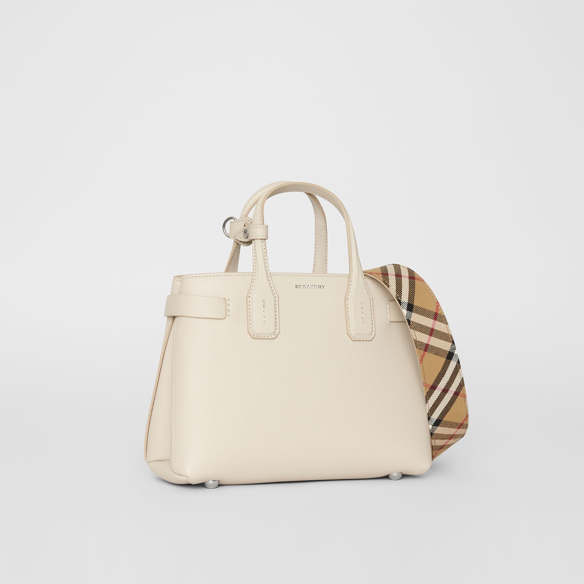 The Small Banner in Leather and Vintage Check in Limestone - Women | Burberry - gallery image 0