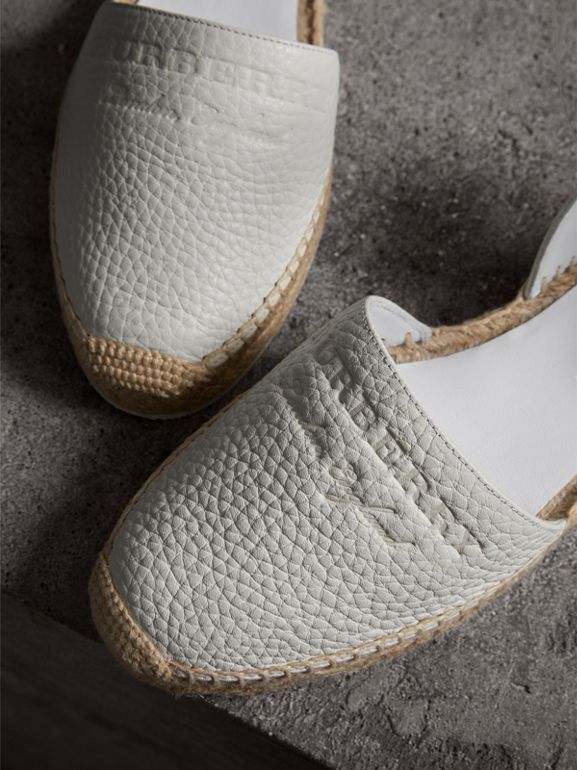 Embossed Grainy Leather Espadrille Sandals in Optic White - Women | Burberry - cell image 1