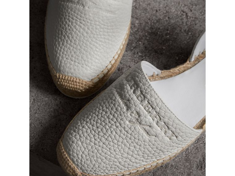 Embossed Grainy Leather Espadrille Sandals in Optic White - Women | Burberry United Kingdom - cell image 1
