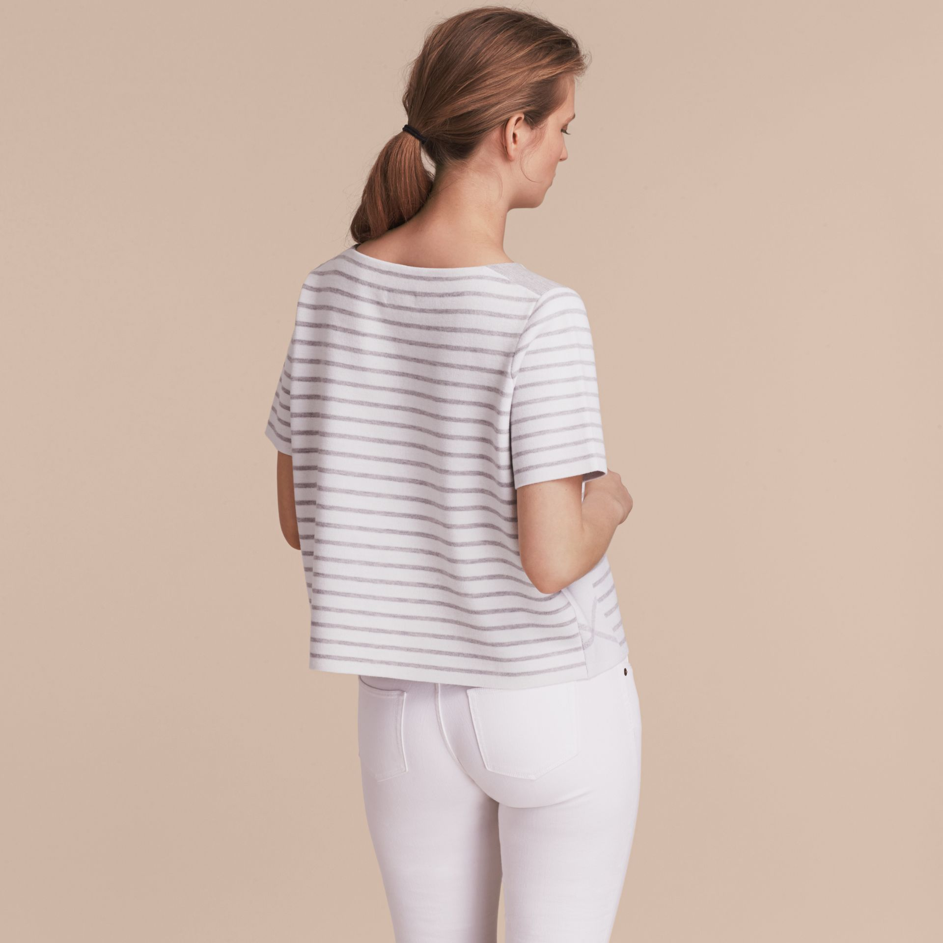 Check and Stripe Wool Blend T-shirt - gallery image 3