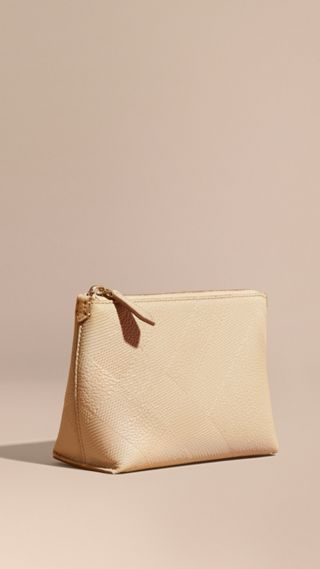 Embossed Check Leather Beauty Pouch