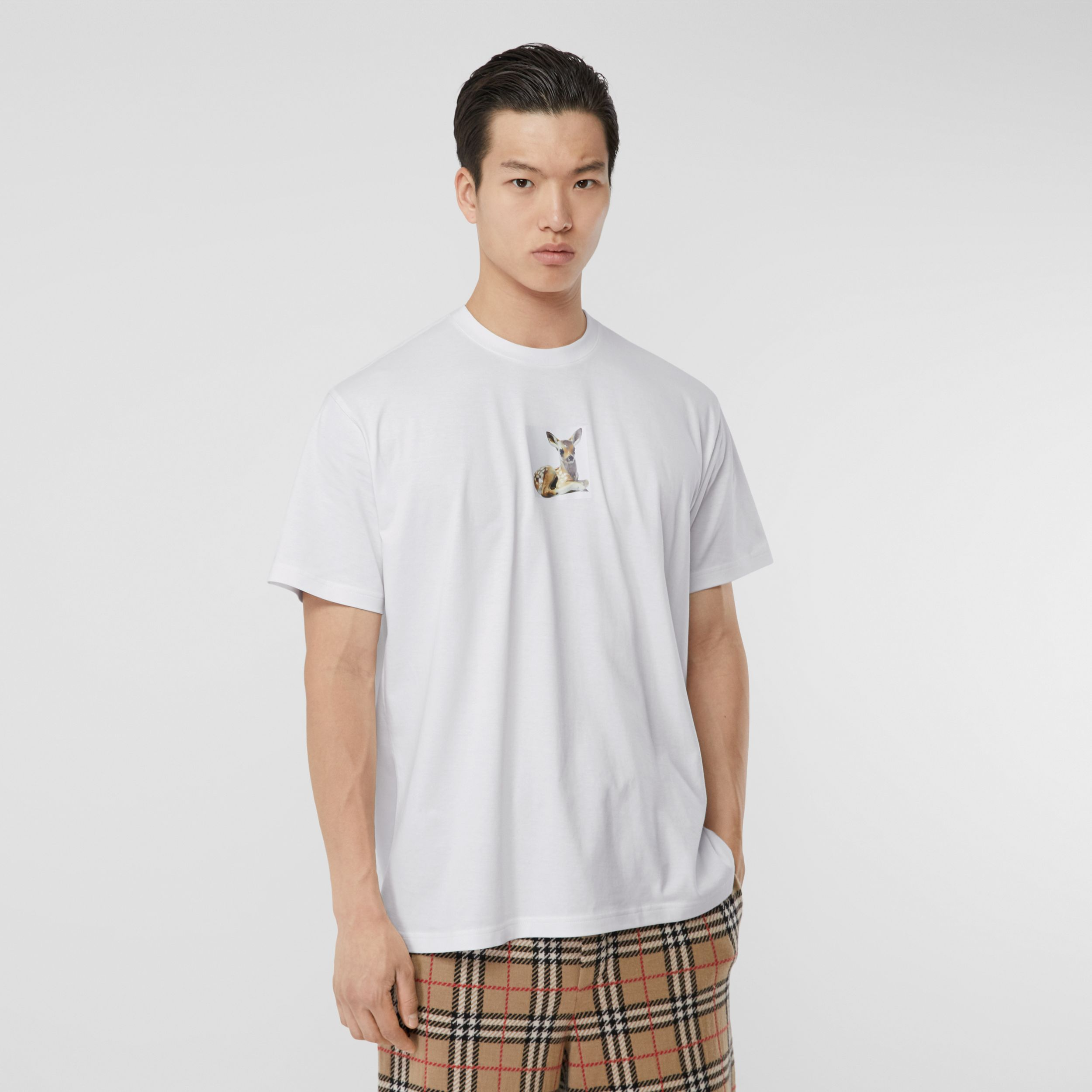 Deer Print Cotton Oversized T-shirt in White - Men | Burberry - 1