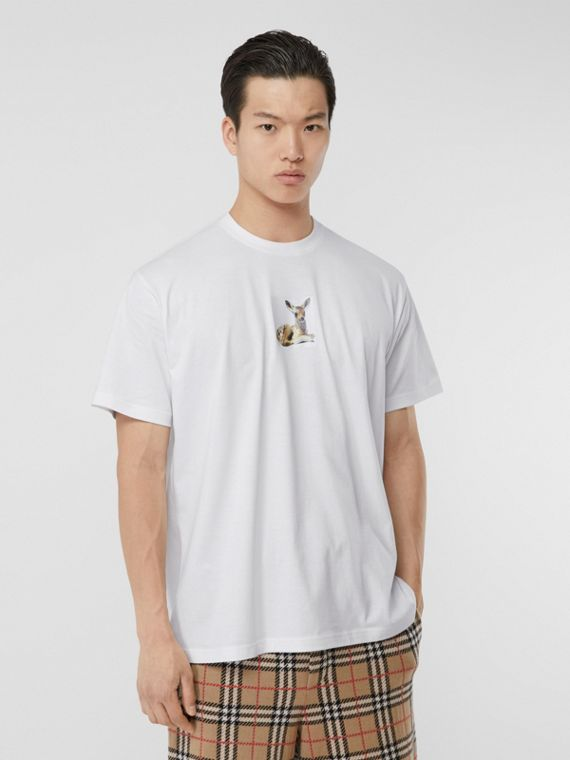 Deer Print Cotton Oversized T-shirt in White