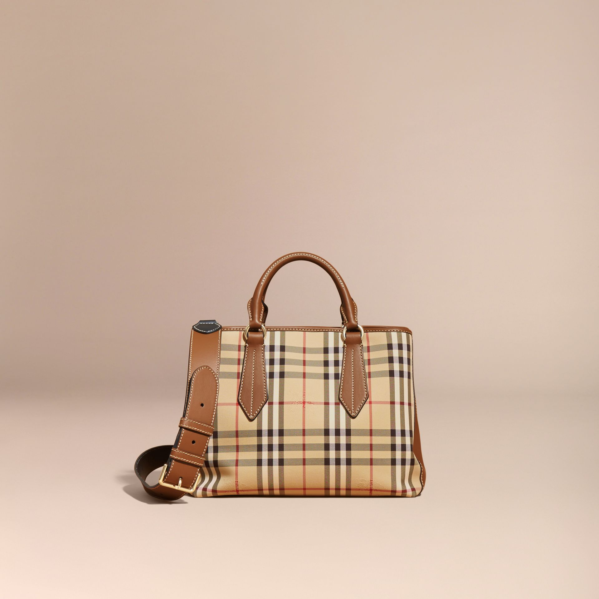 Honey/tan Leather Trim Horseferry Check Tote Honey/tan - gallery image 9