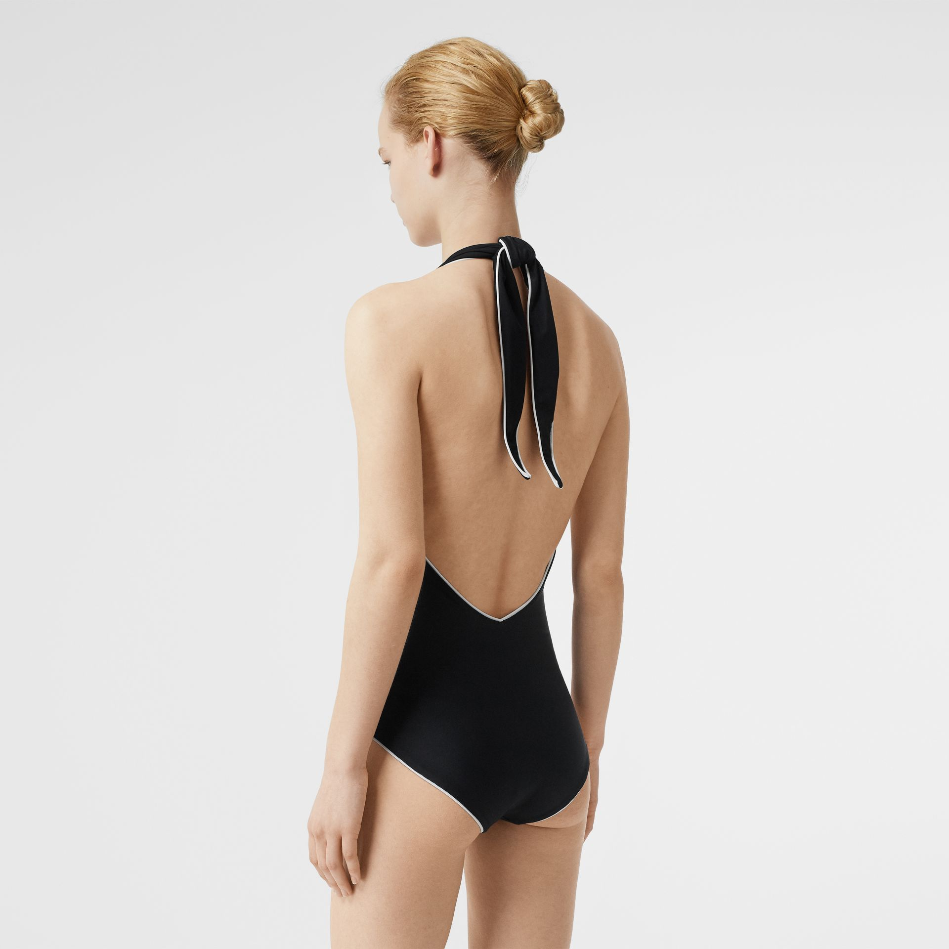 Piping Detail Halterneck Swimsuit in Black - Women | Burberry United Kingdom - gallery image 1