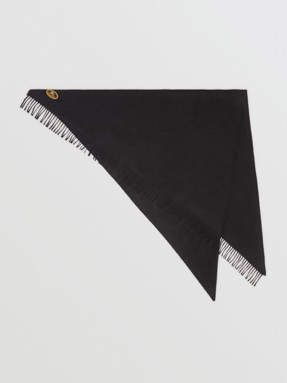 The Burberry Bandana in Embroidered Cashmere in Black