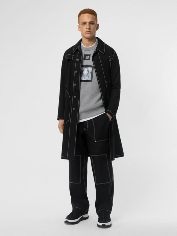 Topstitch Detail Cotton Gabardine Car Coat in Black