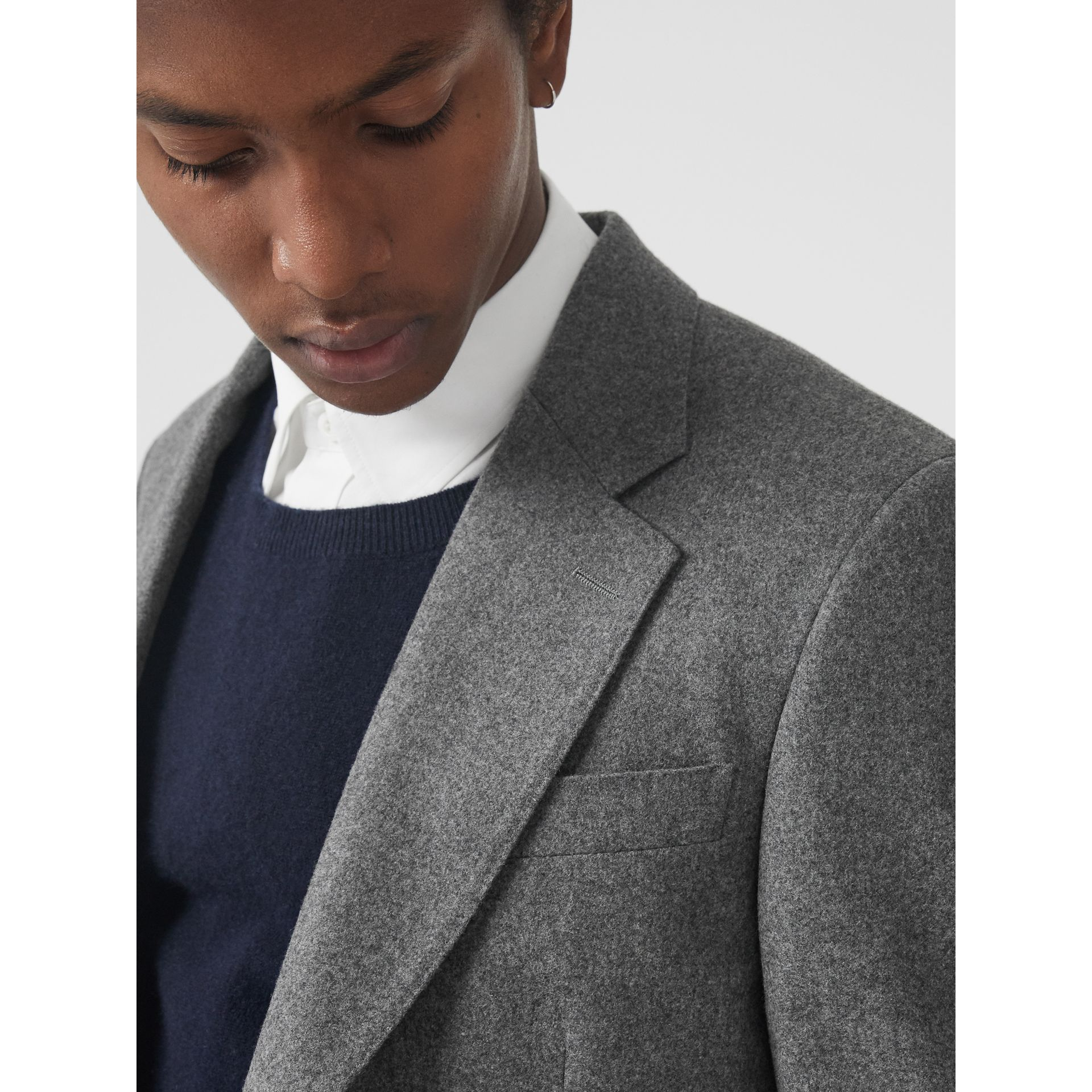 Modern Fit Wool Cashmere Tailored Jacket in Mid Grey Melange - Men | Burberry Australia - gallery image 1