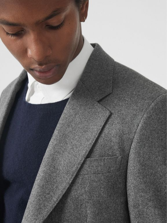 Classic Fit Wool Cashmere Tailored Jacket in Mid Grey Melange - Men | Burberry - cell image 1